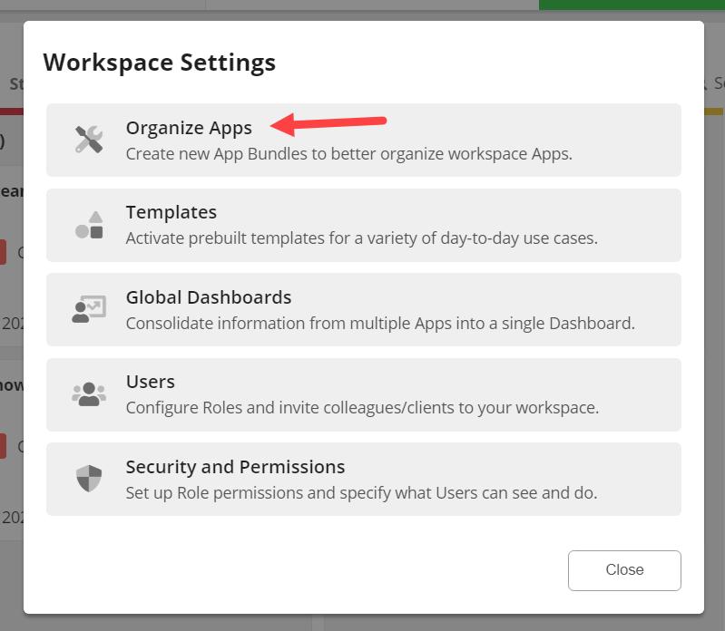 Organize Apps Dialog