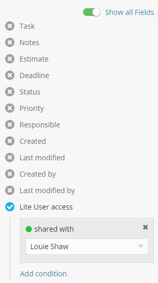 Lite User filter
